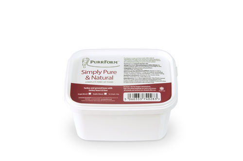 PurrForm Minced Turkey & Ground Bone with Turkey Heart & Liver Tub 450g (Adult Cat)