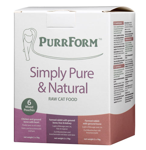 PurrForm Mixed Box 001 (FR,CH,FRLK) - 6 x 70g Complete Pouches (Adult Cat)