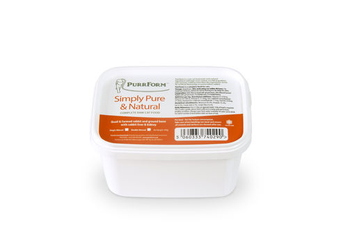 PurrForm Minced Quail & Farmed Rabbit with Ground Bone, Rabbit Liver & Kidney Tub 450g (Adult Cat)
