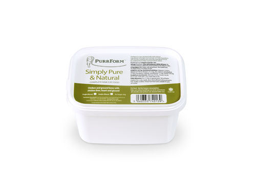 PurrForm Minced Chicken & Ground Bone with Chicken Liver, Heart & Gizzard Tub 450g (Adult Cat)