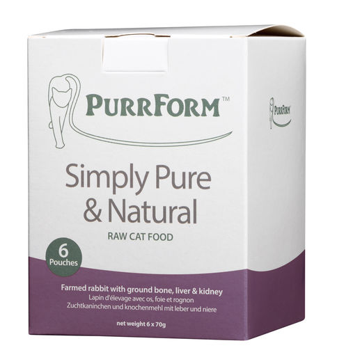 PurrForm Farmed Rabbit with Ground Bone, Liver & Kidney Complete Pouches (Adult Cat)