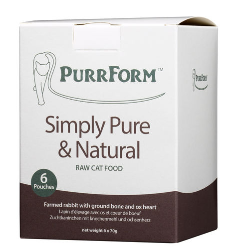 PurrForm Farmed Rabbit & Ox Heart Complete Pouches (Adult Cat)