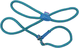 Dog & Co Mountain Rope Slip Lead - Blue / Lime 150cm