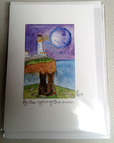 Two Blue Dogs Designs Greeting Card - By the Light of the Moon