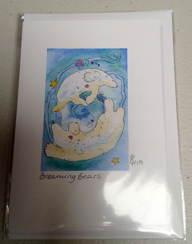 Two Blue Dogs Designs Greeting Card - Dreaming Bears