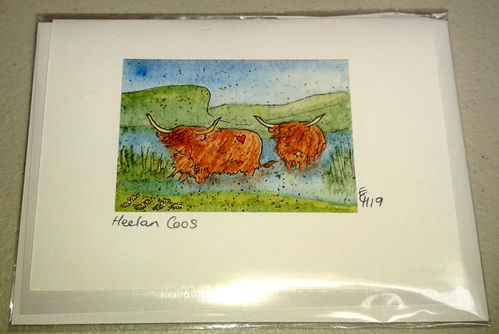 Two Blue Dogs Designs Greeting Card - Heelan Coos