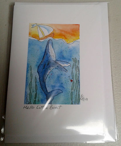 Two Blue Dogs Designs Greeting Card - Hello Little Boat 1