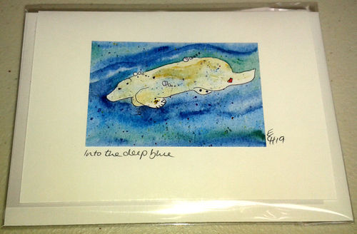 Two Blue Dogs Designs Greeting Card - Into the Deep Blue