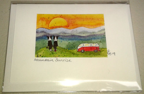 Two Blue Dogs Designs Greeting Card - Mountain Sunrise