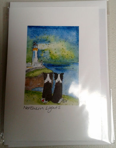 Two Blue Dogs Designs Greeting Card - Northern Lights