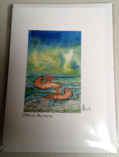 Two Blue Dogs Designs Greeting Card - Otter's Aurora