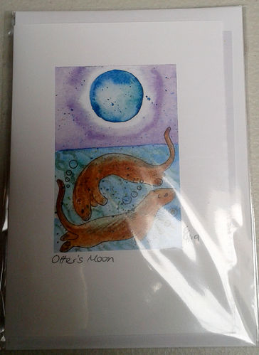 Two Blue Dogs Designs Greeting Card - Otter's Moon