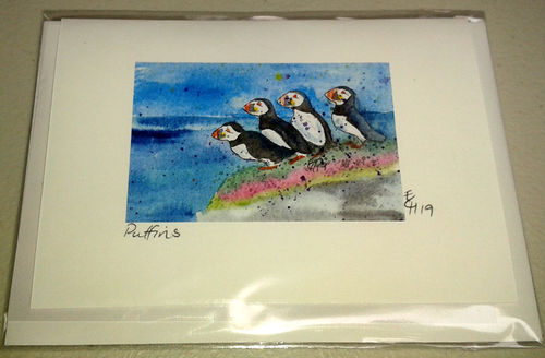 Two Blue Dogs Designs Greeting Card - Puffins