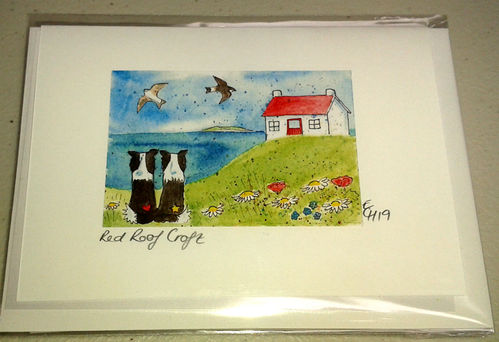 Two Blue Dogs Designs Greeting Card - Red Roof Croft