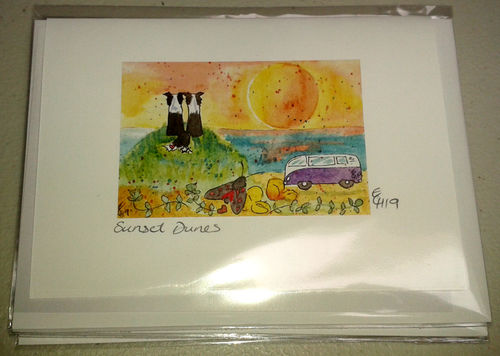 Two Blue Dogs Designs Greeting Card - Sunset Dunes