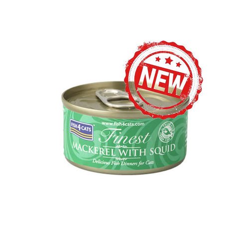 Fish4Cats Finest Mackerel with Squid 70g Tin